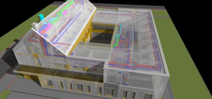 Projekt pełnobrażowy instalacji sanitarnych (w technologii BIM) dla budynku administracyjnego niskoenergetycznego, powierzchnia ok. 2000m2
